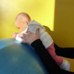 auf dem Therapieball in Bauchlage und Unterarmstütz